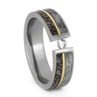 Tension Set Diamond Engagement Ring, Meteorite and Dinosaur Bone Ring with 14k Yellow Gold-3358 - Jewelry by Johan