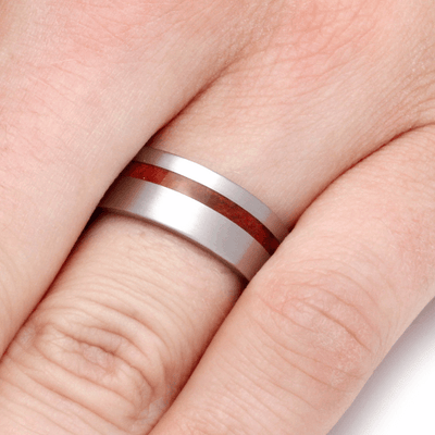 red wedding band in titanium