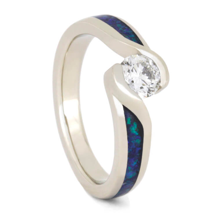 Diamond Engagement Ring With Crushed Opal, White Gold-2329 - Jewelry by Johan