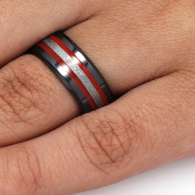 Meteorite Ring With Red Stripes