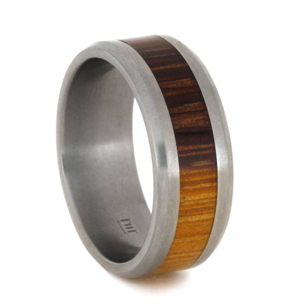 Beveled Titanium Ring With Marblewood Inlay, Size 8.25-RS9217 - Jewelry by Johan