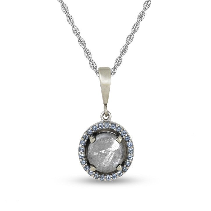 March Birthstone Pendant Necklace with Meteorite and Aquamarine-1679 - Jewelry by Johan