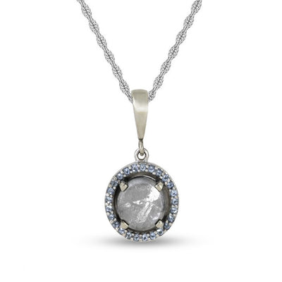 March birthstone pendant necklace with meteorite and aquamarine 1679 3march penaquamarine aloadofball Choice Image