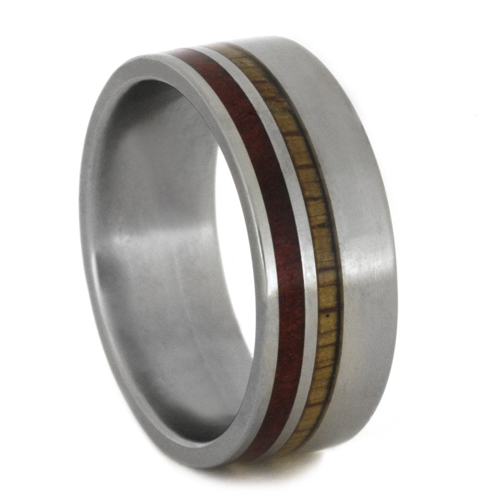 Matte Titanium Ring with Two Wood Pinstripes, Size 8.75-RS8636 - Jewelry by Johan