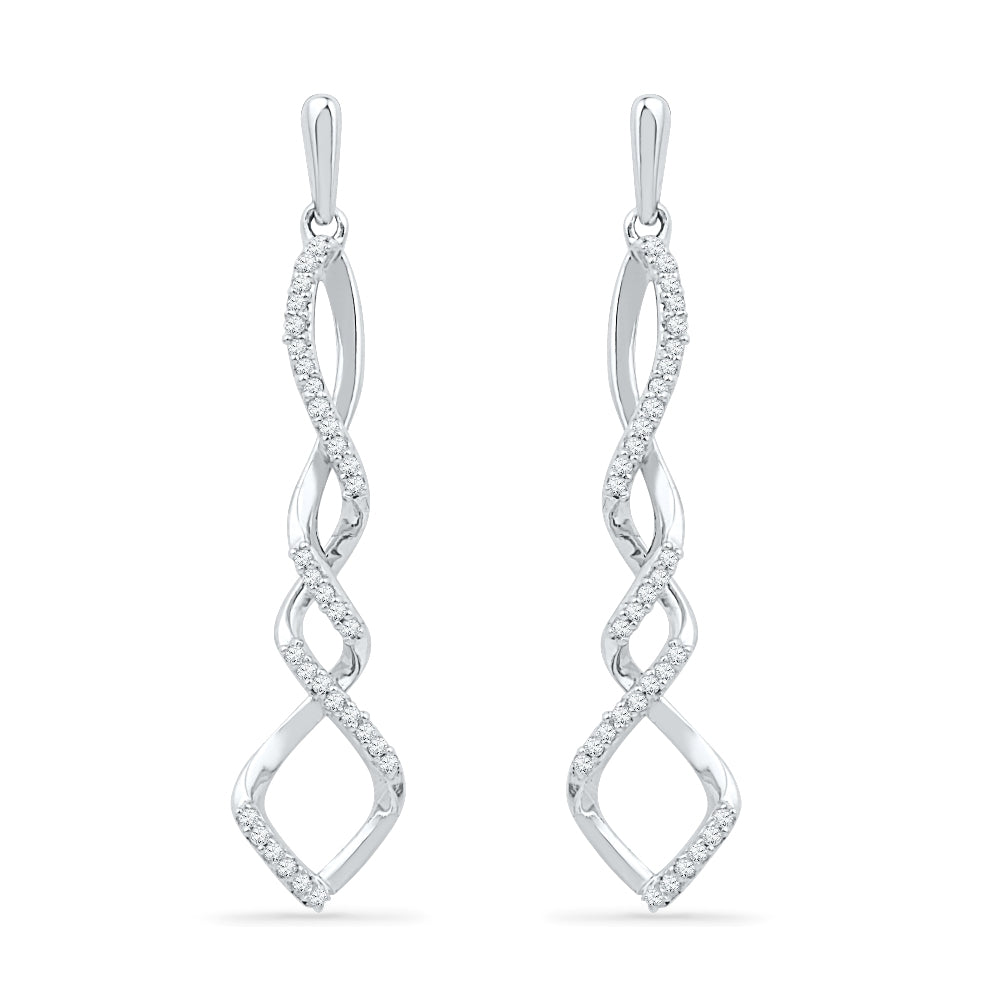 Diamond Accent Twist Drop Earrings In Sterling Silver-SHEF018179-SS - Jewelry by Johan