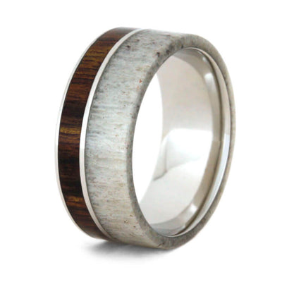 Platinum Antler Wedding Band With Caribbean Rosewood-2283 - Jewelry by Johan