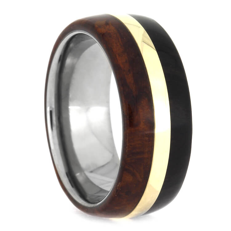Amboyna Wood Ring With African Blackwood And 14k Yellow Gold, Size 7.5