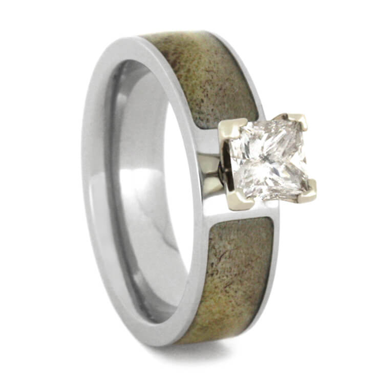 Moissanite Engagement Ring with Natural Shed Antler