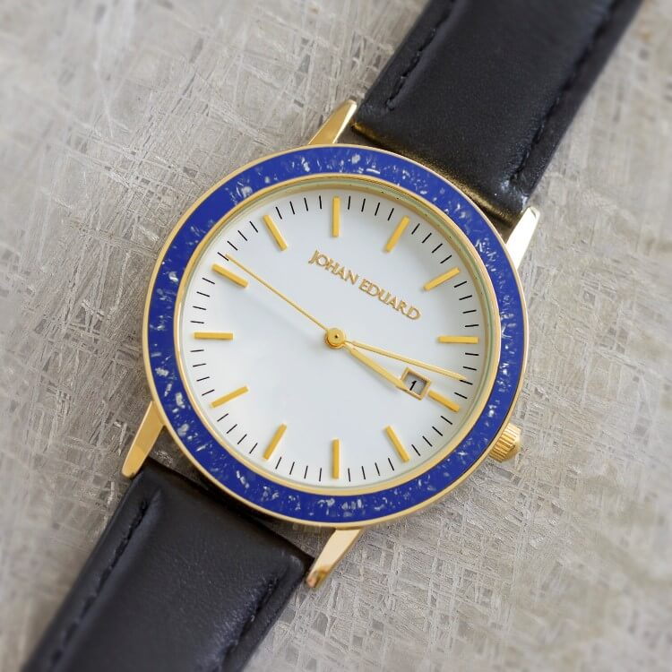 Gold Colored Stainless Steel Watch With Blue Stardust Inlay