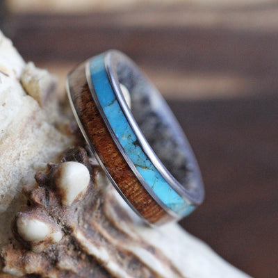 Dark Wood and Antler Men's Ring
