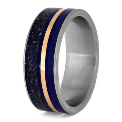 blue wedding band with rose gold