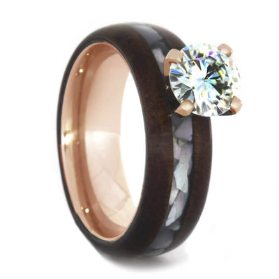 Honduran Rosewood Engagement Ring with Prong Set Moissanite-1607