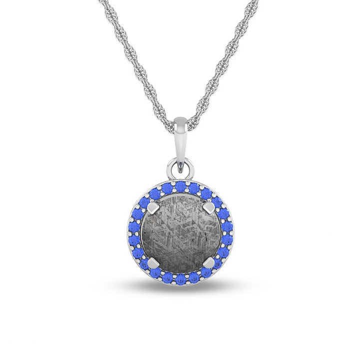 December Birthstone Pendant with Meteorite and Tanzanite on 14k White Gold Necklace-1688 - Jewelry by Johan