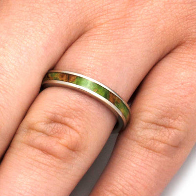 White Gold Ring with Peridot Box Elder Burl Wood Inlay-3216 - Jewelry by Johan
