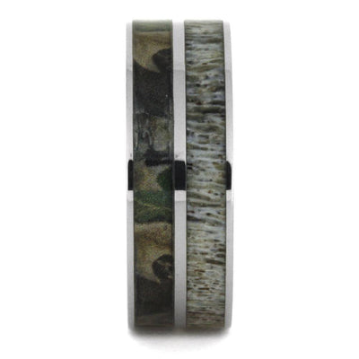 Camo Ring With Natural Deer Antler Inlay In Titanium Band-2917 - Jewelry by Johan