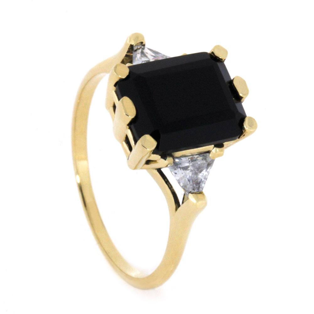 Onyx Engagement Ring with Triangle CZs in Yellow Gold-2962 - Jewelry by Johan