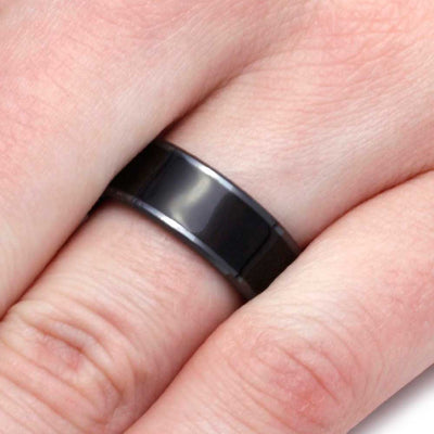 Wood Ring In Black Ceramic Band, African Blackwood Wedding Band-2840 - Jewelry by Johan
