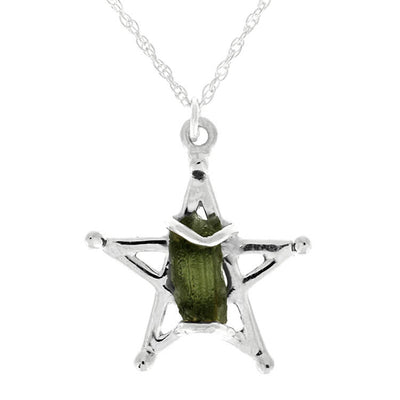 Meteorite Star Necklace, Green Moldavite Necklace in Sterling Silver