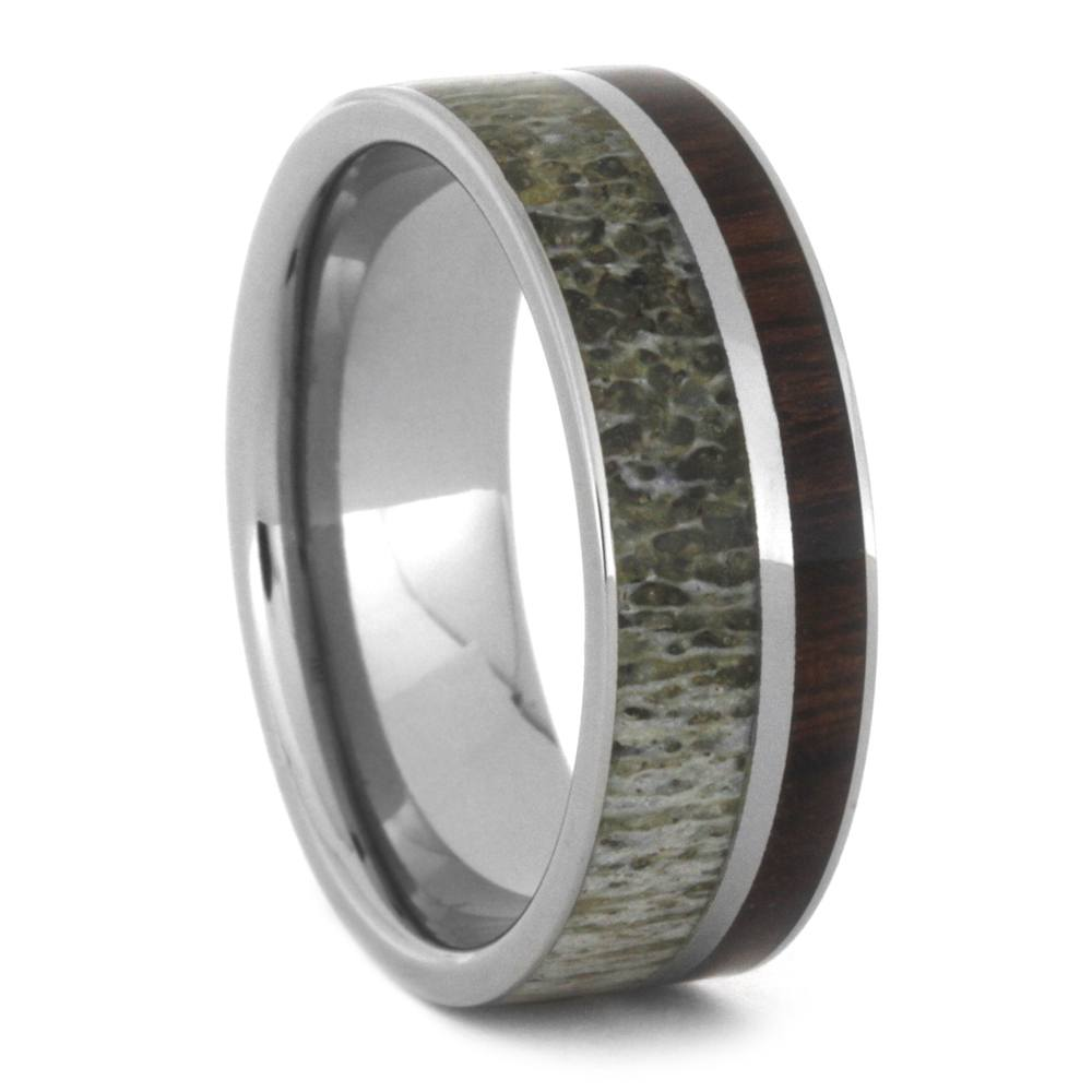 Manly Deer Antler Wedding Band With Ironwood In Titanium
