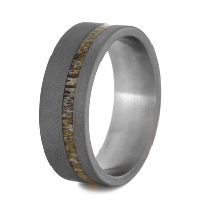 Deer Antler Cross Wedding Band In Sandblasted Titanium-3203 - Jewelry by Johan