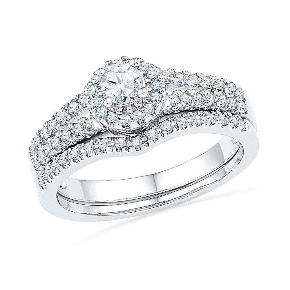 Sterling Silver Diamond Halo Ring Set-SHRB013973-SS - Jewelry by Johan