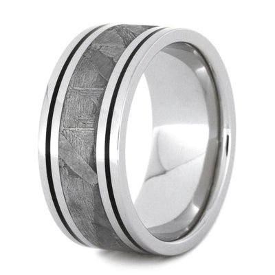 Mens Wedding Band With Black Enamel And Seymchan Meteorite-2898 - Jewelry by Johan
