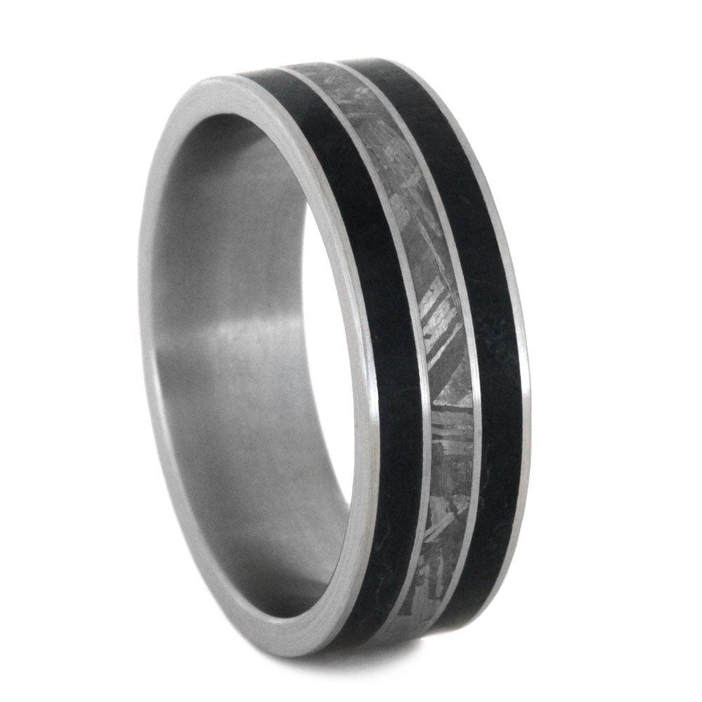 Black Jade Ring With Gibeon Meteorite In Titanium Band-3178 - Jewelry by Johan