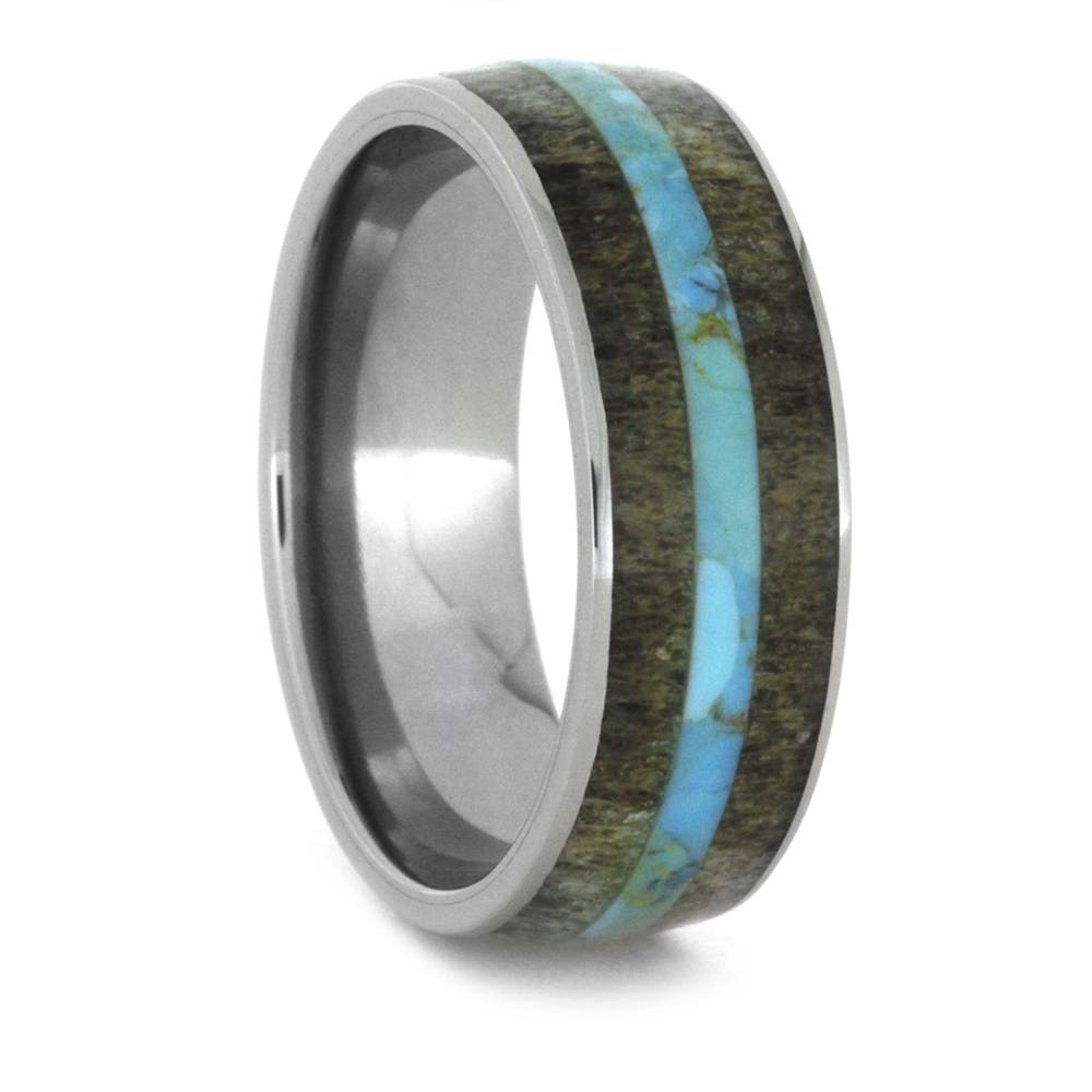 Deer Antler And Turquoise Men's Wedding Band In Titanium-3418 - Jewelry by Johan