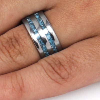 Turquoise Ring In Titanium, Crushed Turquoise Wedding Band-3299 - Jewelry by Johan
