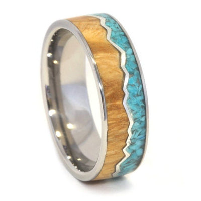 Mountain Ring With Turquoise And Wood Divided By Silver Mountains-1612 - Jewelry by Johan