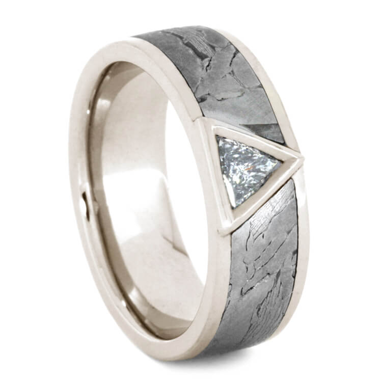 Triangle Cut Diamond Wedding Band With Meteorite