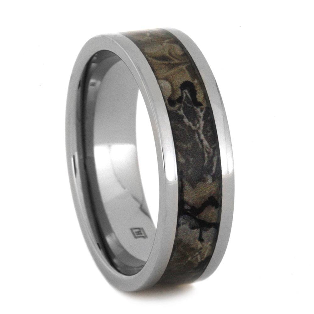 Camouflage Men's Wedding Band In Titanium
