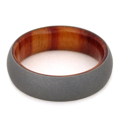 Tulipwood Wedding Band With Sandblasted Titanium Overlay-SIG3001 - Jewelry by Johan