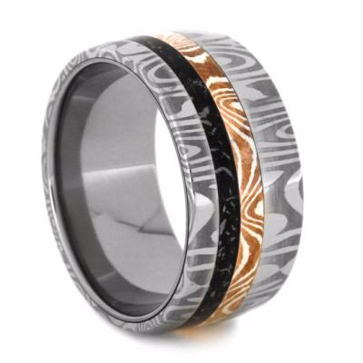 Copper And Silver Mokume Gane Wedding Band With Black Stardust™-2129 - Jewelry by Johan