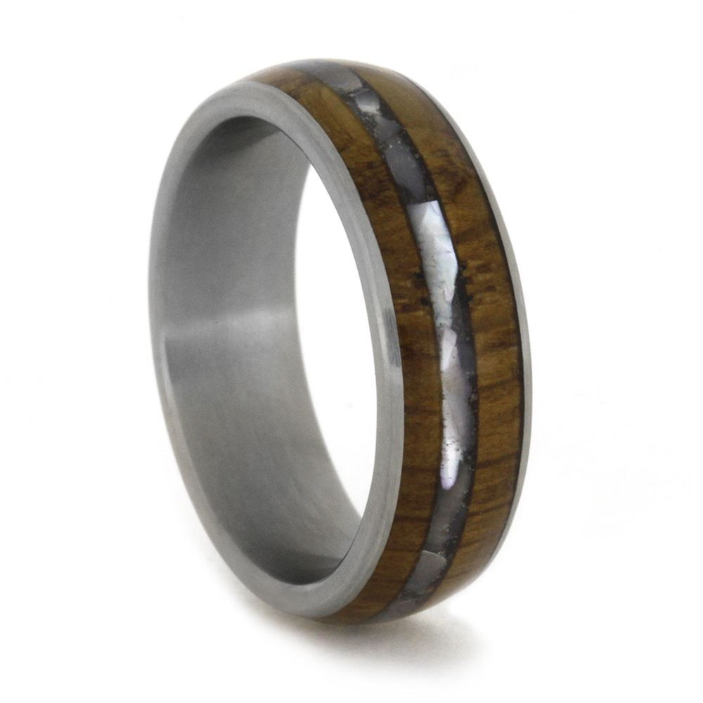 Titanium Ring with Mother of Pearl and Natural Wood Inlays-1849 - Jewelry by Johan