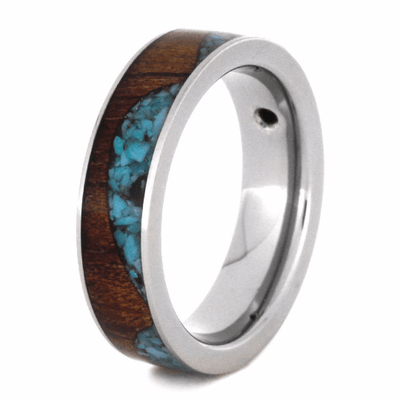 Wave Ring With Koa Wood And Turquoise-2127 - Jewelry by Johan