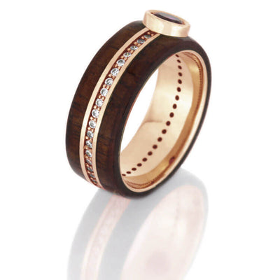 with engagement keys for wedding inlay rosewood dp silver ring three real jewelry santos rings men wood titanium band