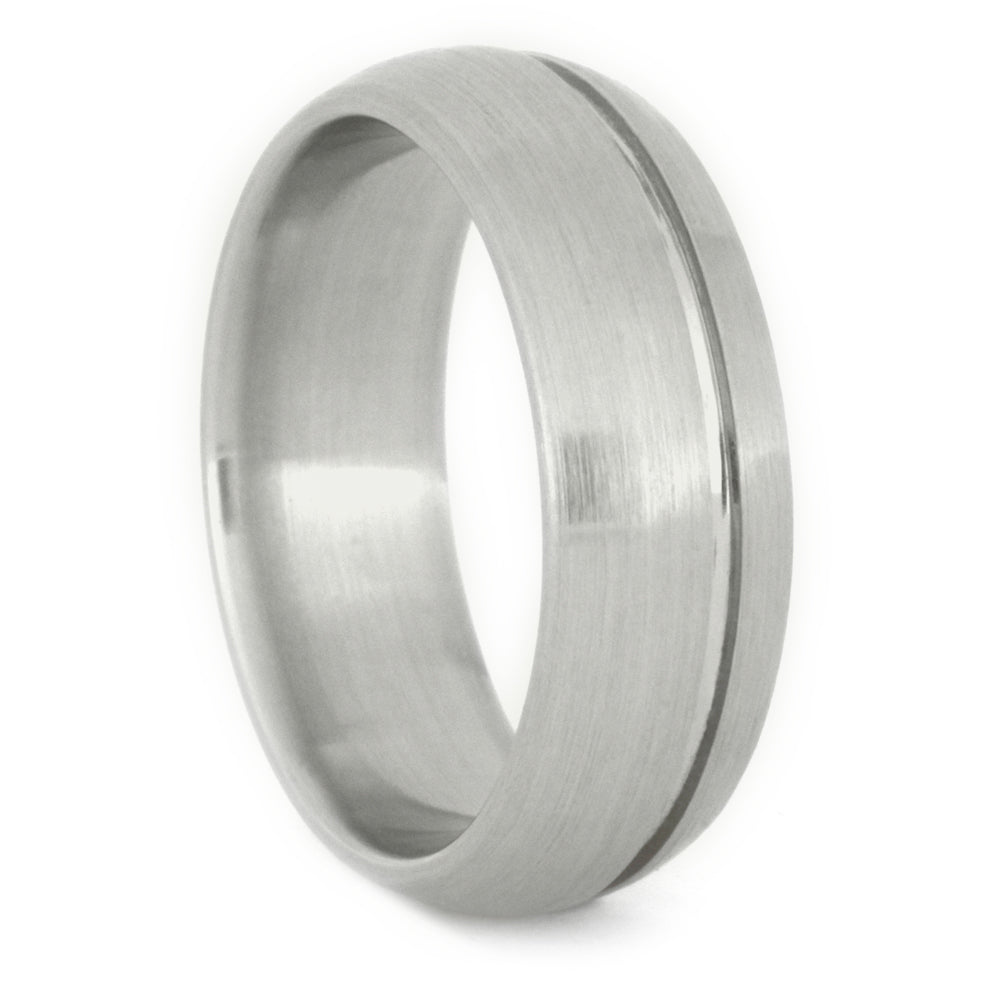 White Gold Wedding Band with a Grooved Pinstripe and Dual Finishes