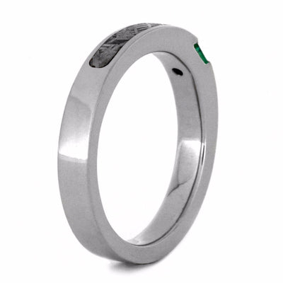 Meteorite Engagement Ring with Green Emerald in 10k White Gold-2856 - Jewelry by Johan