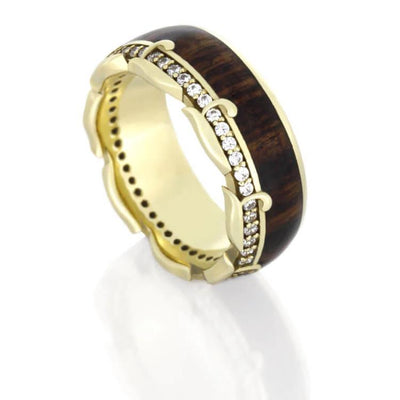 Diamond Eternity Wedding Band in Yellow Gold, King Wood Ring-DJ1013YG - Jewelry by Johan