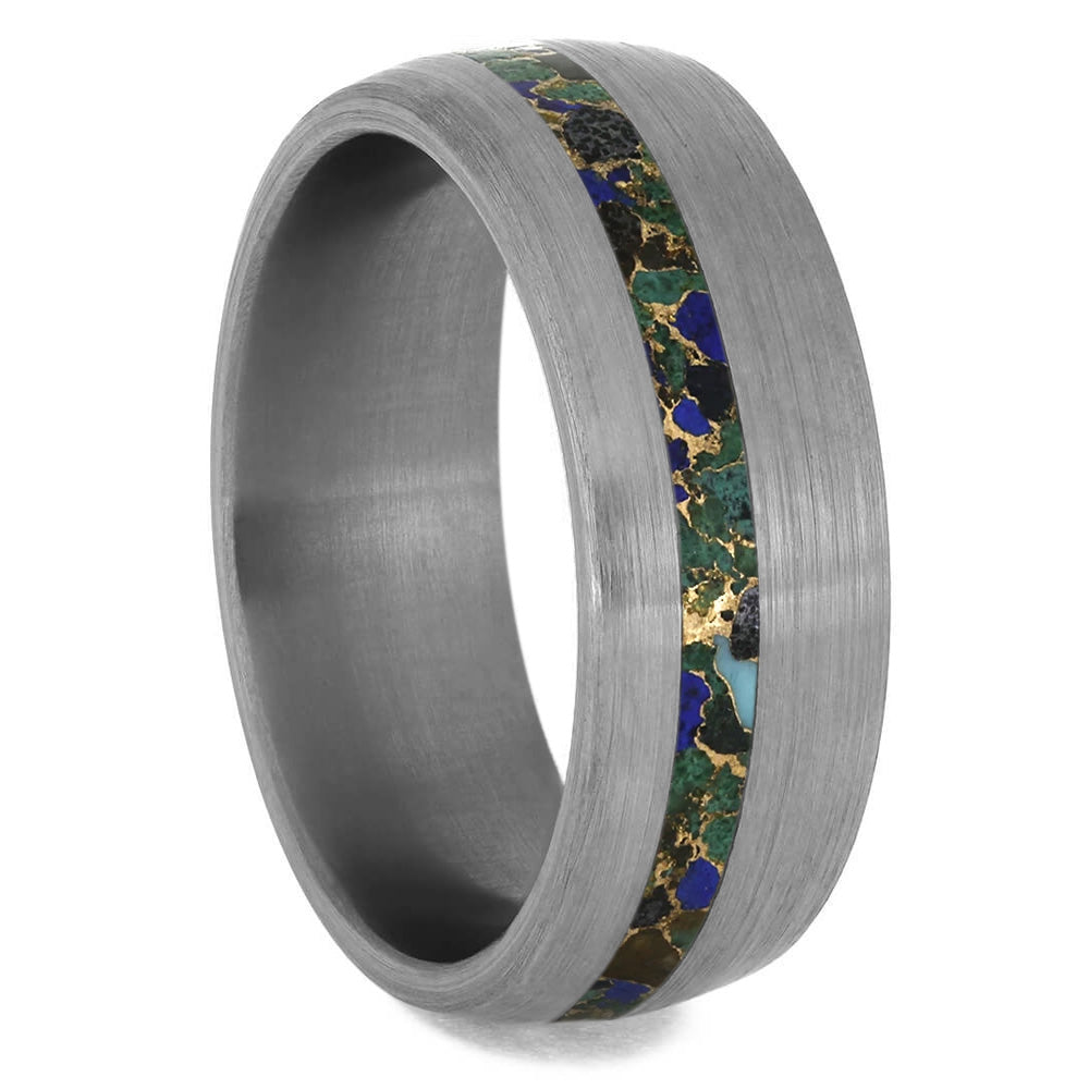Gem Alloy Wedding Band, Titanium Ring With Brushed Finish-3930 - Jewelry by Johan