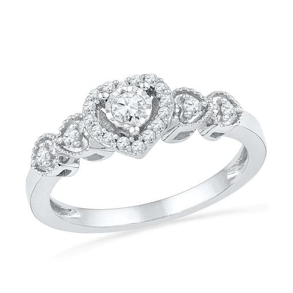 Diamond Heart Ring, Sterling Silver Promise Ring or Engagement Ring-SHRP072960DAW-SS - Jewelry by Johan