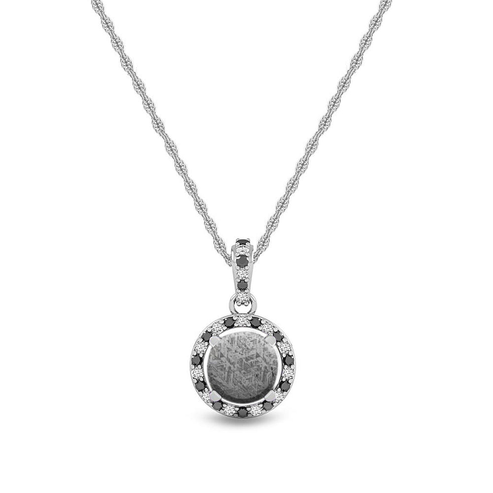 Black & White Diamond Halo Necklace With Meteorite Stone - Jewelry by Johan