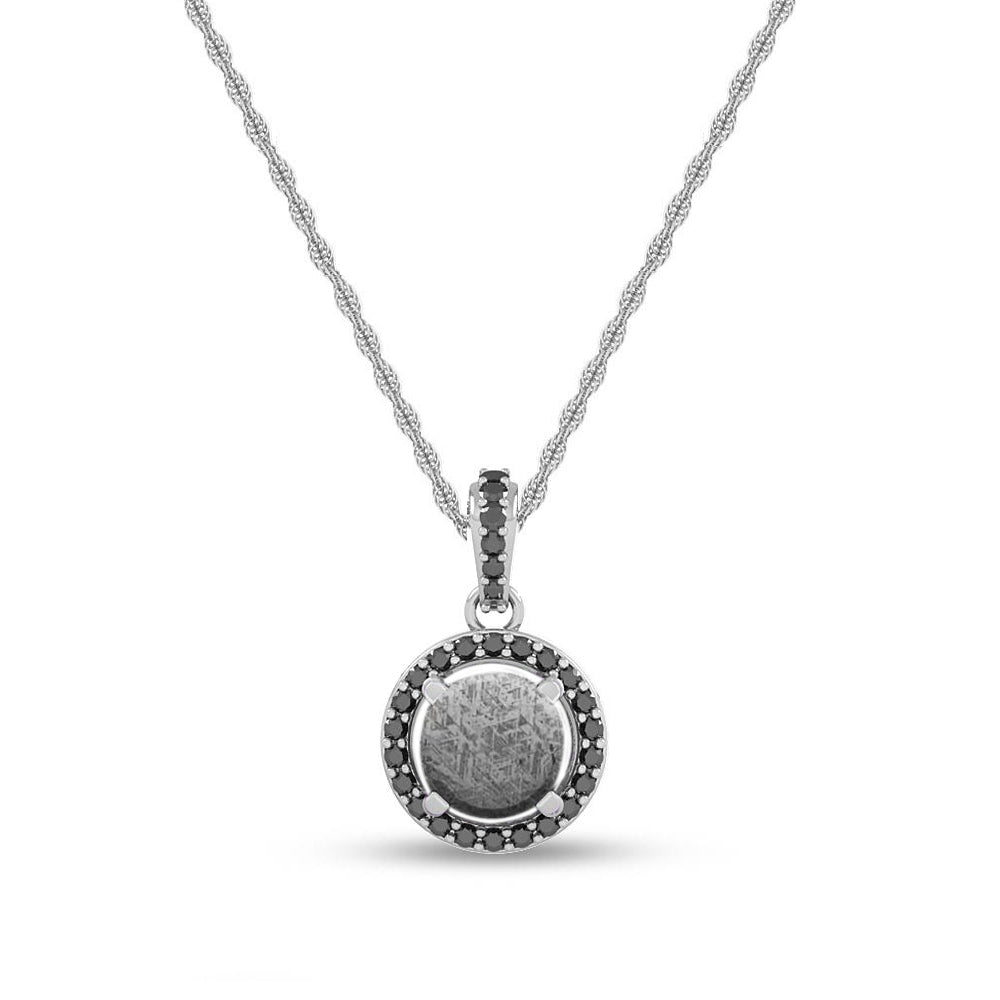 Meteorite & Black Diamond Halo Necklace With Gemstone Bail - Jewelry by Johan