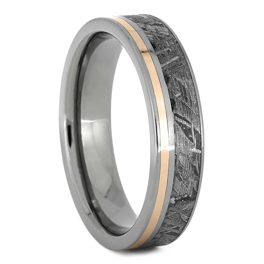 Meteorite And Rose Gold Ring With Titanium Edges-1724 - Jewelry by Johan