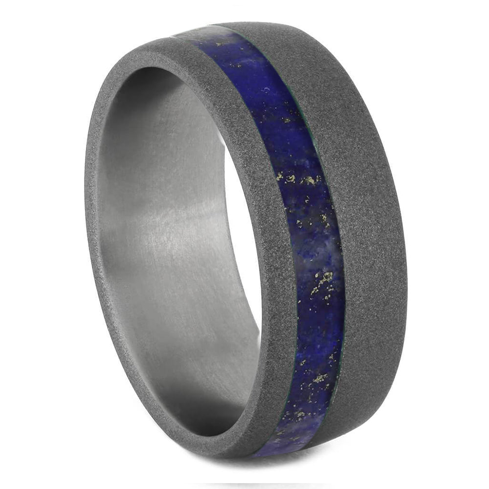 Lapis Lazuli Ring Offset in Titanium Band with Sandblasted Finish-1725 - Jewelry by Johan