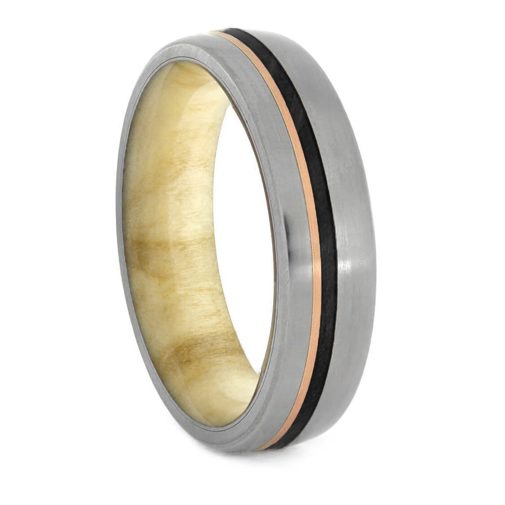 Matte Titanium & Wood Ring with Gold Pinstripe - Jewelry by Johan
