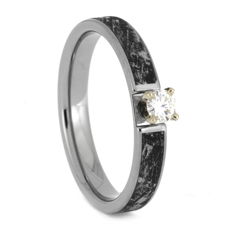 Mimetic Meteorite Ring with a Moissanite in White Gold Prong-1831 - Jewelry by Johan