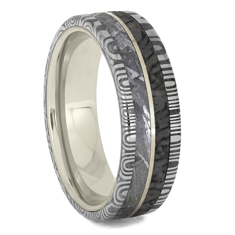 Mens White Gold Wedding Band With Damascus, Meteorite and Dinosaur Bone-1839 - Jewelry by Johan