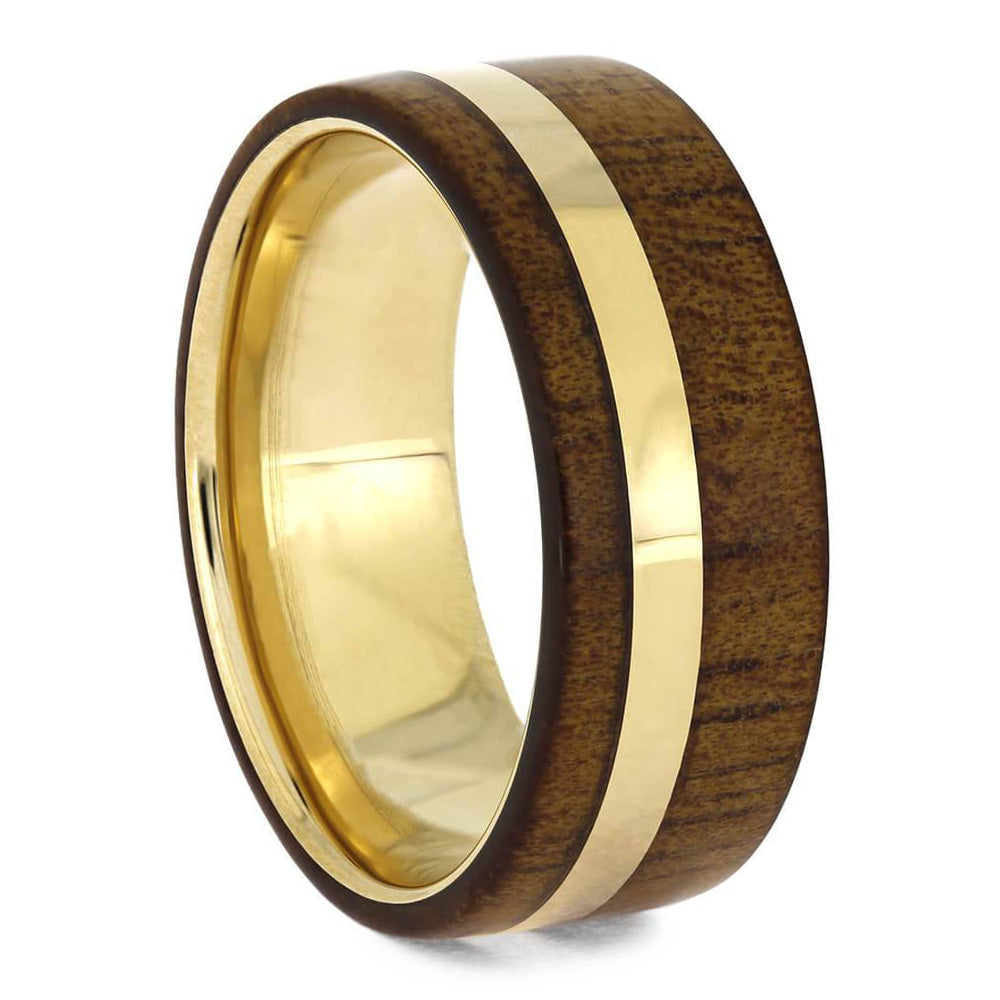 Solid Gold Koa Wood Wedding Band-2077 - Jewelry by Johan